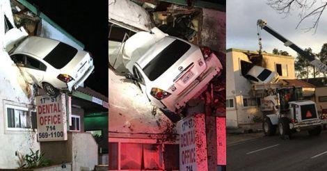 Not daredevilry, speeding car crashes into second floor