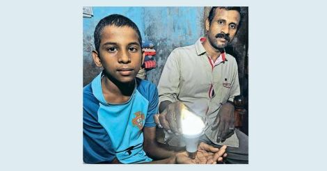This Alappuzha boy can light up a bulb. He just have to hold it!