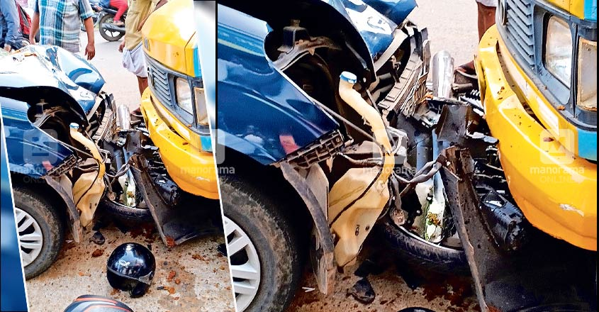 Two hurt as car veered out of control in Muttuchira