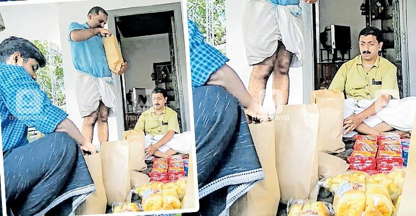 Abhayam workers distribute food kits to children in Vazhoor panchayat