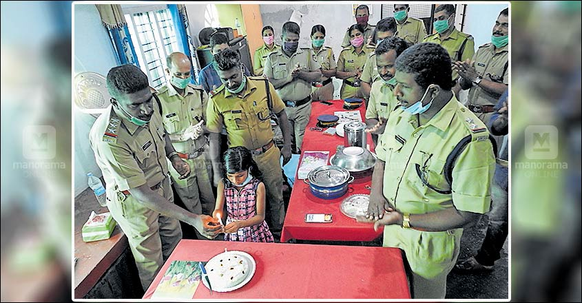 Girl celebrates birthday at police station