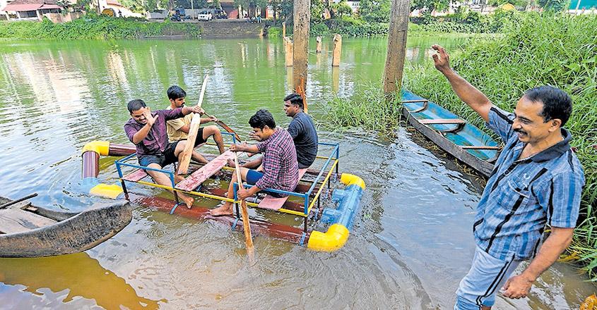 Kottayam man makes boat using PVC pipes