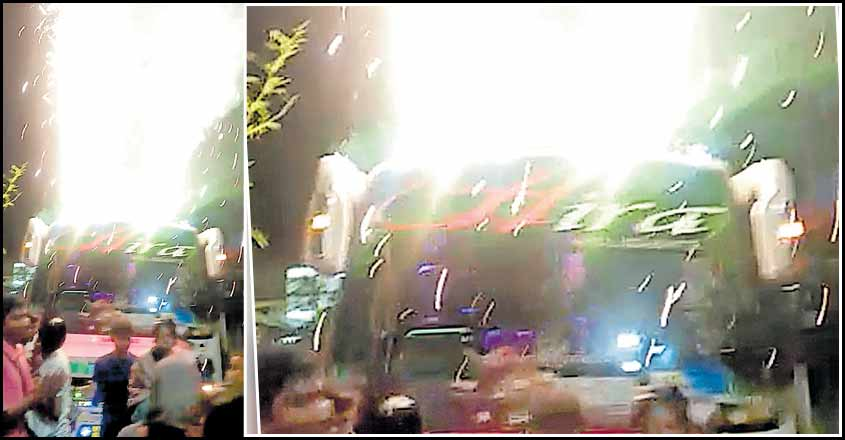Crackers alight on top of tourist bus hired for school excursion in Kozhikode; MVD acts tough
