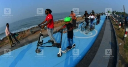 In a first in Kerala, Kozhikode gets a cycle track adjacent to main road