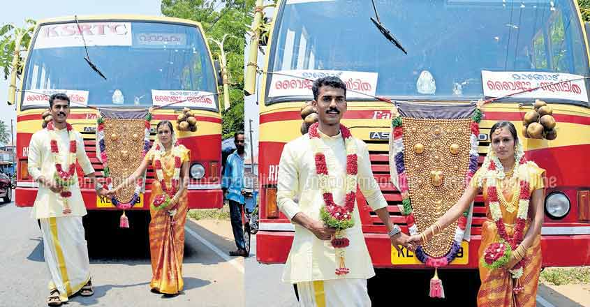 Newly-wed couple takes the road of modesty on a KSRTC bus