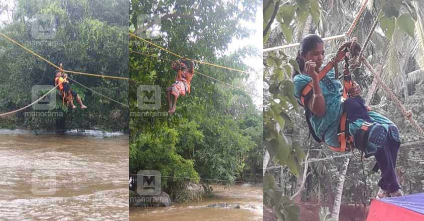 Family of six, including pregnant woman, rescued in daring bid across swollen river