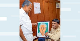 Artist with cerebral palsy wows Kerala CM with portrait