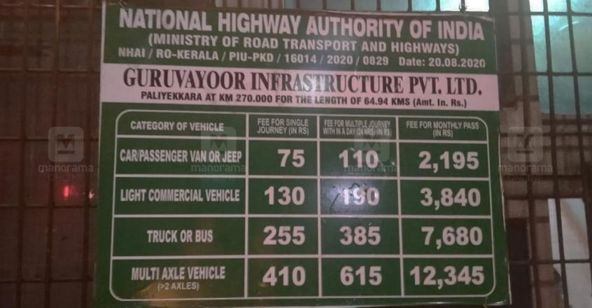 Revised rates come into effect at Paliyekkara toll plaza
