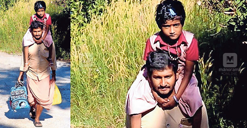 This man's trek with child on shoulders is heart-rending