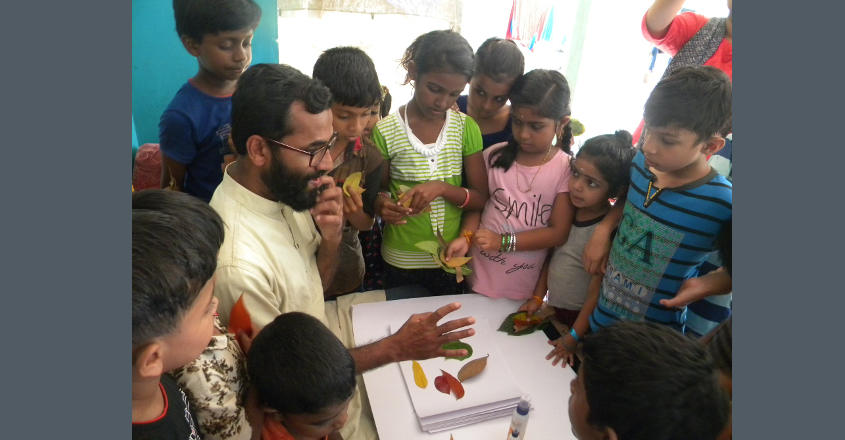 art-room-03-Blaise Joseph leading an art room for children in post-flood Kerala's Eravathur of Thrissur district in September 2018