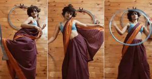 Watch   Eshna Kutty's hoop dance in saree stuns social media