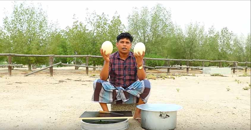 Special ostrich egg omelette by Firoz Chuttipara
