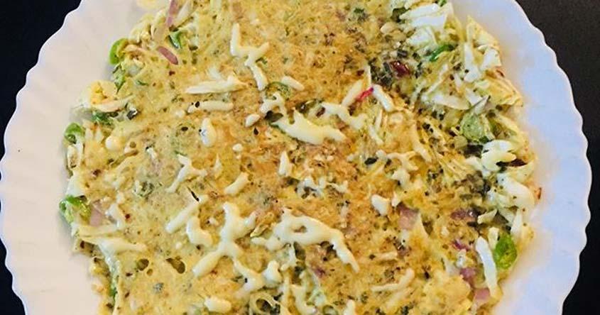 Make delicious vegetable-egg pizza in a non-stick pan