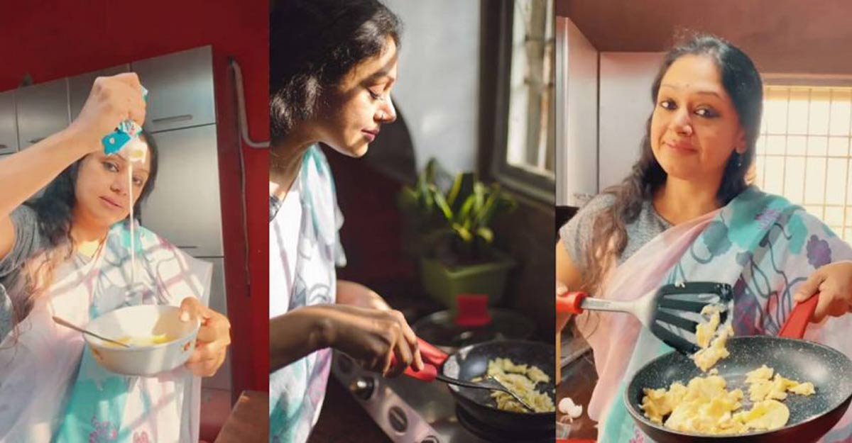 Shobana shares video of easy scrambled eggs on Instagram