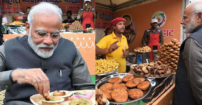PM Modi munches on 'litti-chokha', 'kulhad chai'