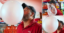 This man holds Guinness World Record for largest bubblegum bubble blown