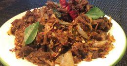 Spicy beef chathachu ularthiyathu