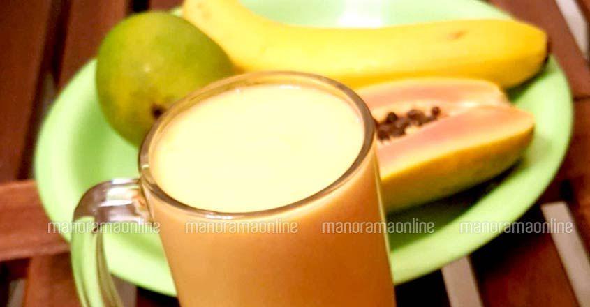 Easy milk shake with three fruits