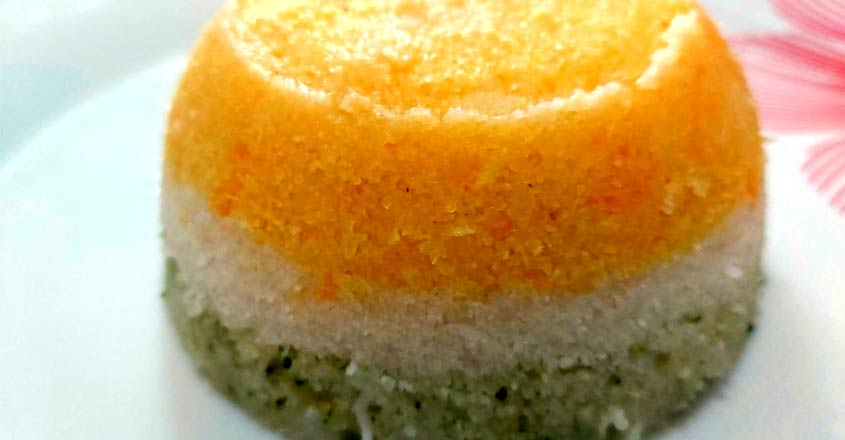 Tricolour healthy veggie puttu