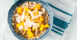 Walnut mango lassi bowl