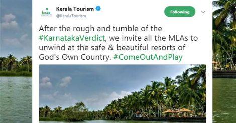 Unwind in our 'safe resorts:' Kerala Tourism's tweet to K'taka MLAs