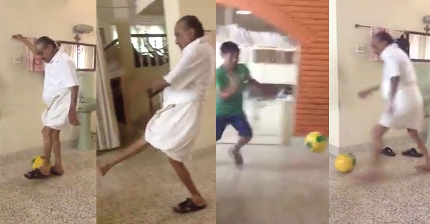 Video of K M Mani playing football with grandchildren surfaces online