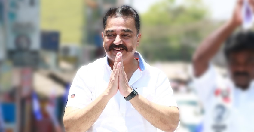 Tindivanam: Makkal Needhi Maiam (MNM) President Kamal Haasan during an election campaign ahead of 2019 Lok Sabha polls, in Tindivanam, Tamil Nadu, on March 31, 2019. (Photo: IANS)