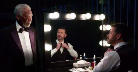 Jimmy Kimmel gets pep talk from Morgan Freeman