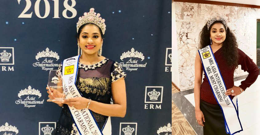 Sasilekha wins Mrs Charming title at Asia International beauty pageant