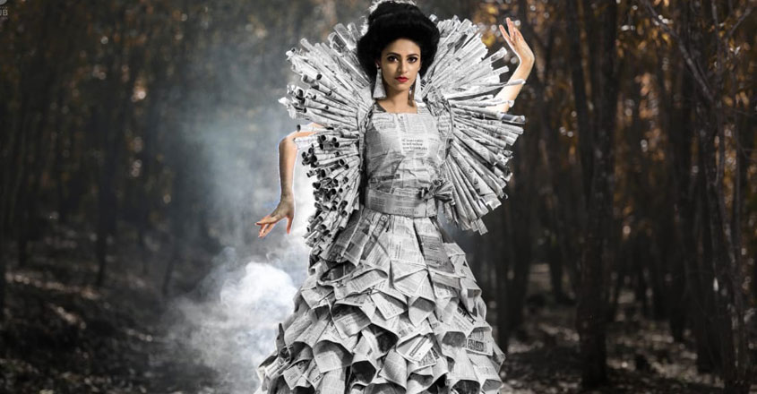 This designer gown made with newspaper is grabbing eyeballs