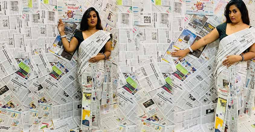 Merin designs paper sari