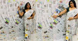 Lockdown: Woman techie in Kerala rediscovers design skills, creates newspaper sari