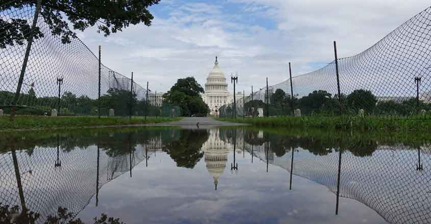 WASHINGTON, July 8, 2019 (Xinhua) -- The Capitol Hill is seen after heavy rain in Washington D.C., the United States, on July 8, 2019. Torrential rains and flash floods on Monday hammered the Washington D.C. region, stranding thousands of drivers and commuters, causing extensive power outages, and soaking train and metro stations as well as numerous basements. (Xinhua/Liu Jie/IANS)