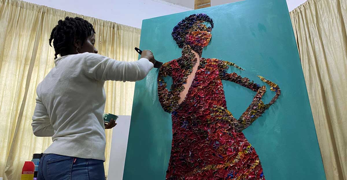 Nigerian waste fabric becomes portraits in the hands of an artist