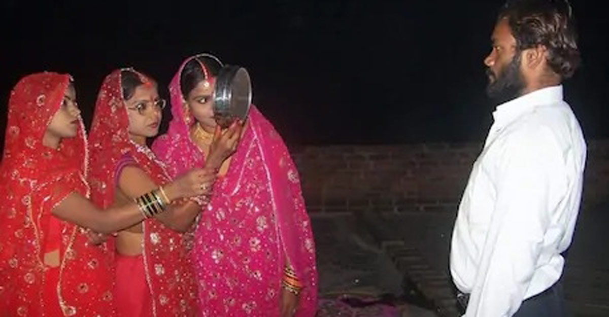 Three wives in karwa chauth.