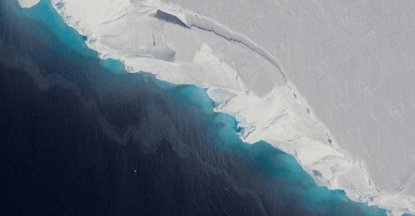 NASA scientists have discovered a gigantic cavity -- almost 300 metres tall -- growing at the bottom of Thwaites Glacier in West Antarctica, indicating how fast global sea levels will rise in response to climate change. (Photo Credit: NASA)