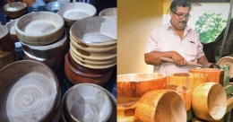 Keralite man carves nature-friendly plates, utensils out of wood