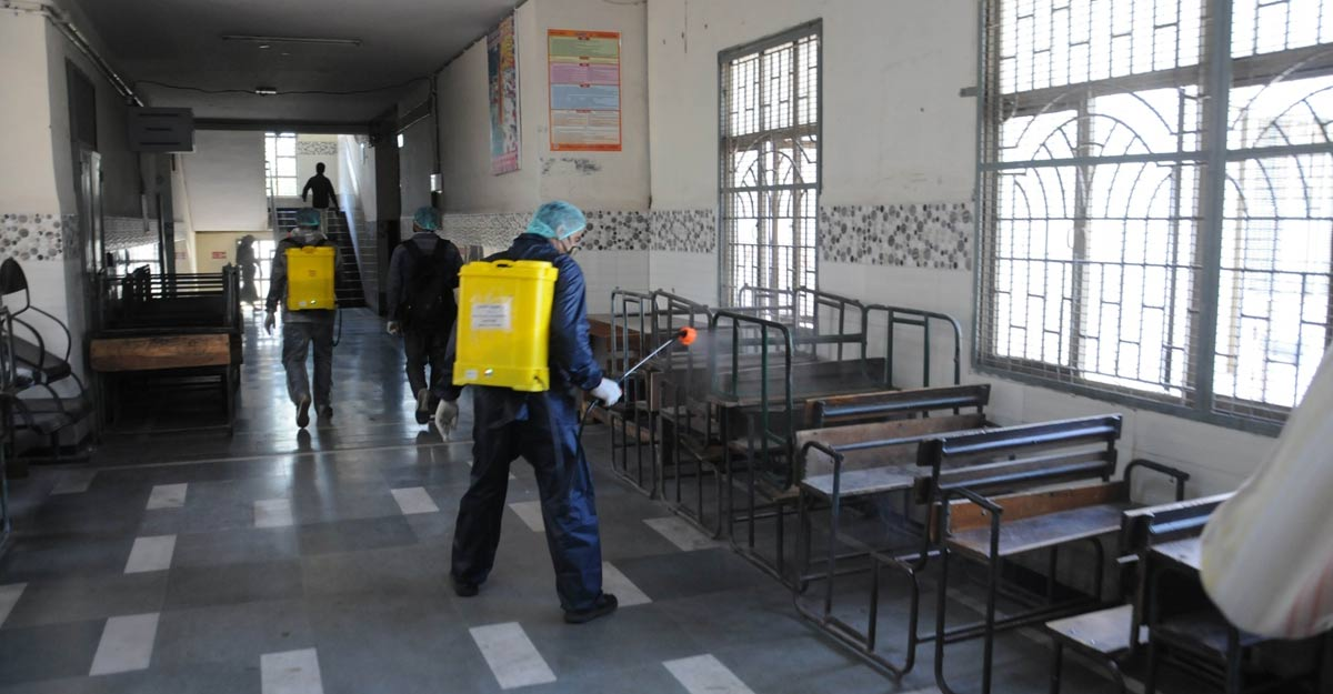 New Delhi: The Government school in Delhi's Ghazipur that had quarantined COVID-19 suspects being sprayed with disinfectants on Apr 3, 2020. (Photo: ANS)