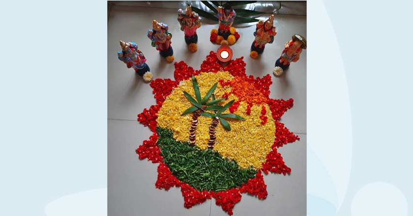 Onam floral carpet designs and the 10 incarnations of Lord Vishnu