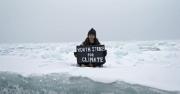 British teenager activist stages climate protest on Arctic ice floe