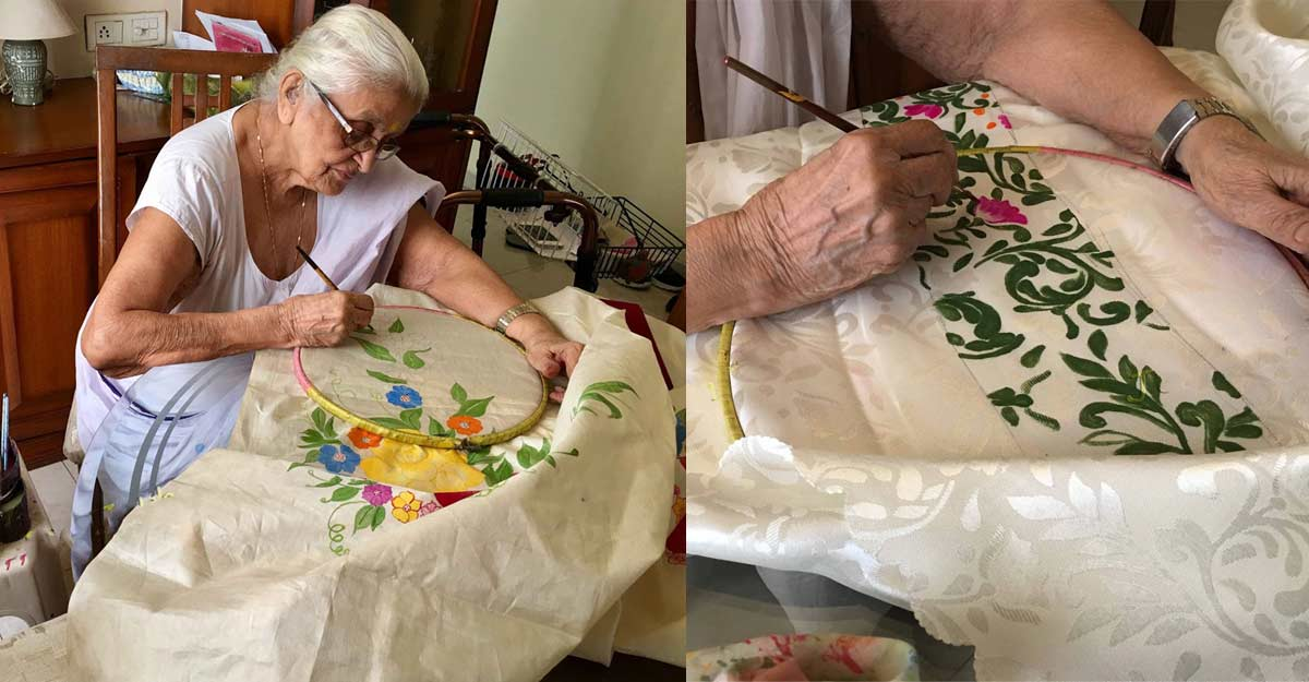 At 100, hobbyist with 4 great-grandchildren mock her age with priceless hand-painted sarees
