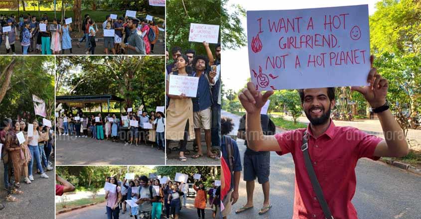 Pondicherry University students hold their version of climate strike