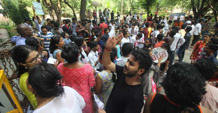 JNU students protest as CRPF deployed on campus