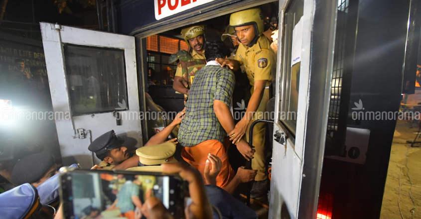 Eight taken into preventive custody at Sabarimala