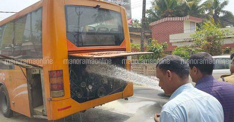 KURTC Volvo bus catches fire at Kollam, passengers unhurt
