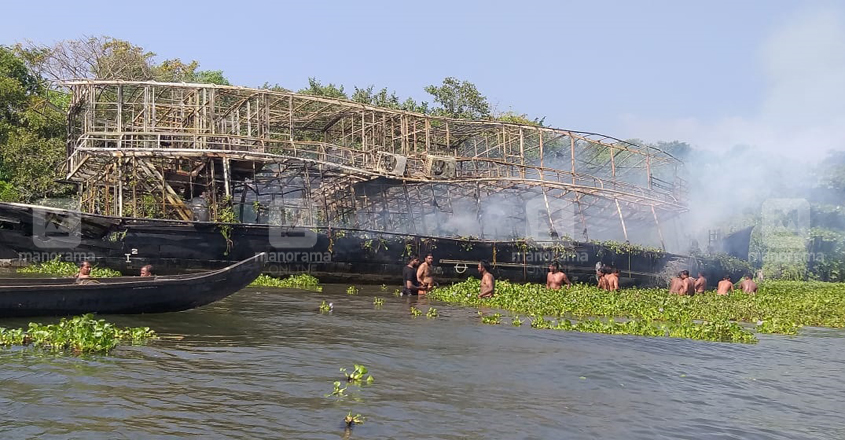 Lucky escape for tourists as fire guts houseboat in Alappuzha