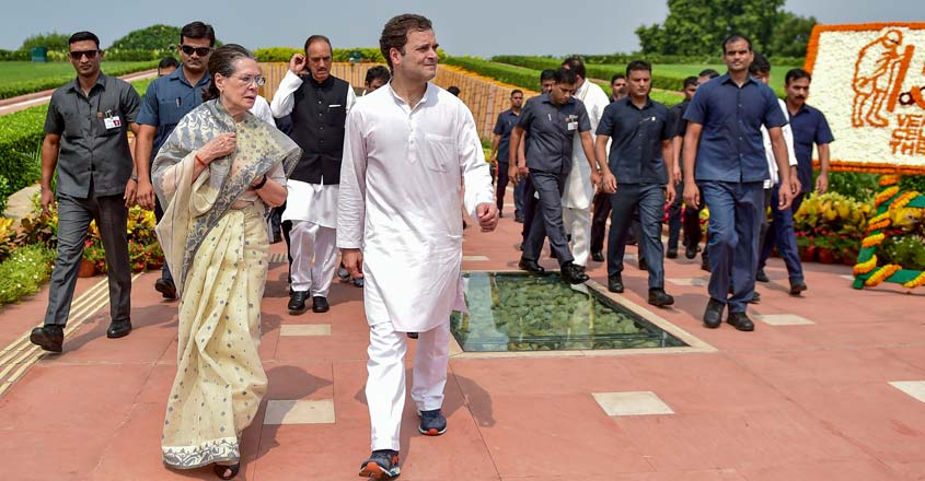 New Delhi: In this Oct. 2, 2019 file photo, Congress President Sonia Gandhi with party leader Rahul Gandhi accompanied by SPG leave after paying tribute to Mahatma Gandhi on the 150th birth anniversary at Rajghat in New Delhi. The government has withdrawn the Special Protection Group (SPG) cover of Congress president Sonia Gandhi and her children Rahul and Priyanka, and they will now be given Z-plus security by the CRPF on Friday, Nov. 8, 2019. (PTI Photo/Manvender Vashist)