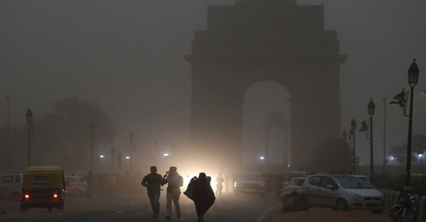 Delhi airport's flight operations interrupted briefly by severe dust storm