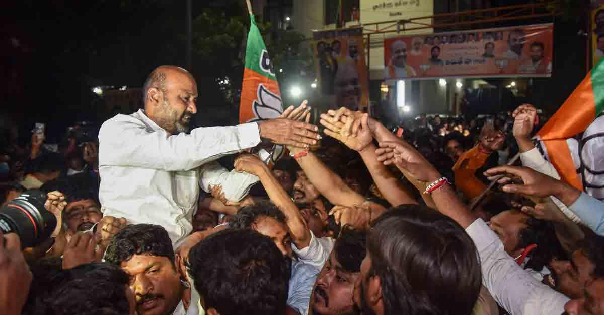 Hyderabad polls | TRS falls short of majority as BJP makes big gains