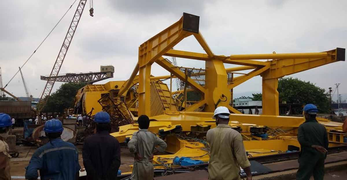 Eleven killed after crane collapses at Hindustan Shipyard in Visakhapatnam